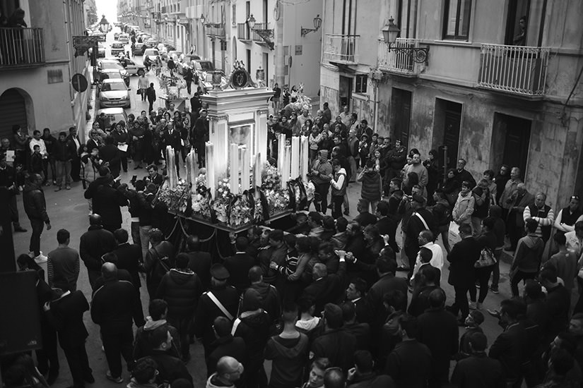 Good Friday. Trapani, Sicily. Carrying of a procession float
