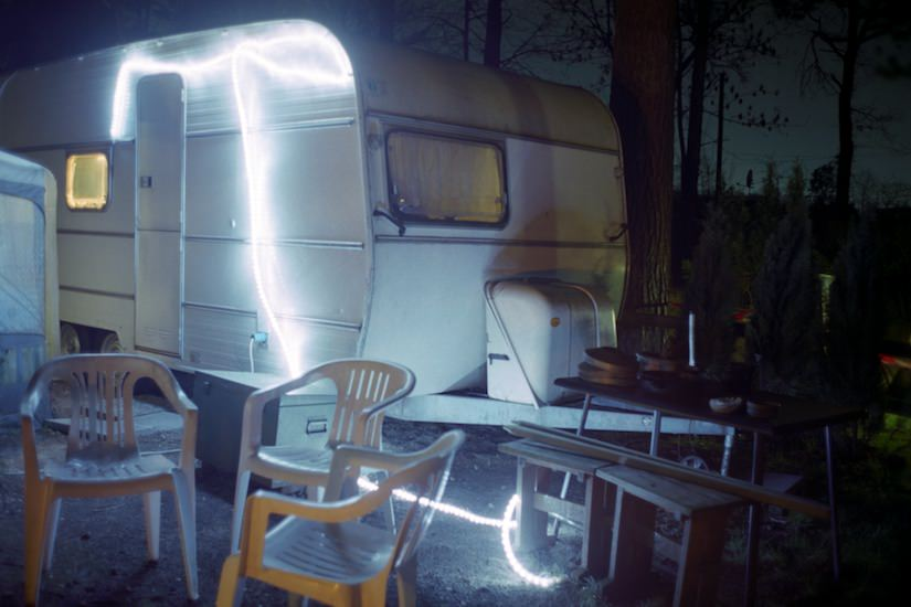 Long exposure photography of a camper