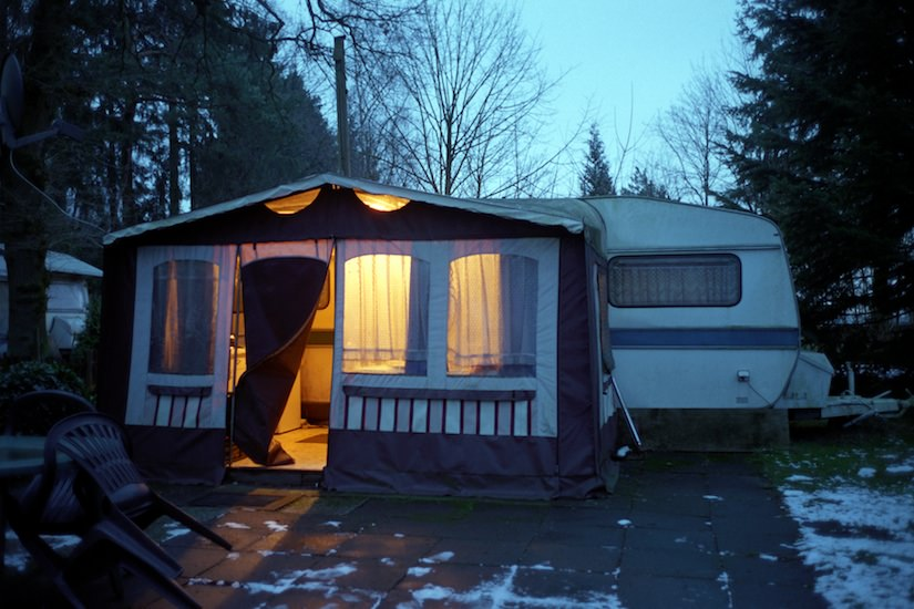 Twilight - Preparing for a cold January night in a Trailer without heat and electricity