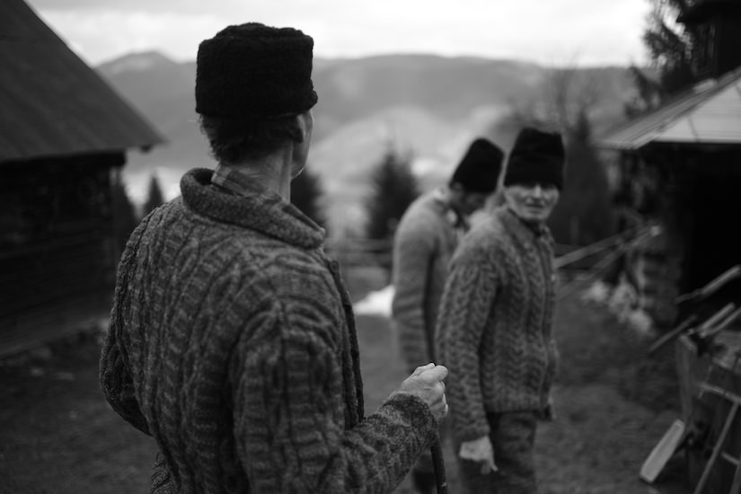 Traditional shepherds in the mountains, Romania, Moldovita